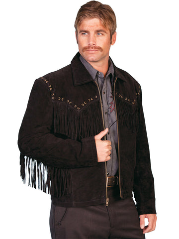 Scully Leather Mens Black Boar Suede Western Fringe Jacket
