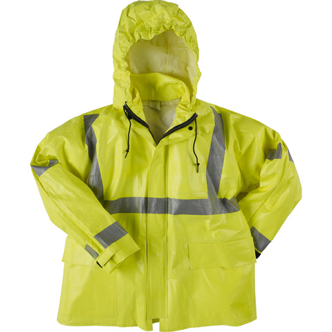 Neese Jacket with Attached Hood Hi-Viz Lime PVC on Modacrylic Arc II