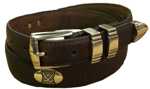 Danbury Mens Brown Leather Tapered Golf Belt