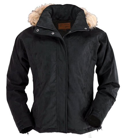 Outback Trading Co. Gold Cup Ladies Jacket Black Microsuede Faux Fur Hooded
