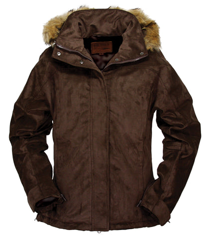 Outback Trading Co. Gold Cup Ladies Jacket Brown Microsuede Faux Fur Hooded