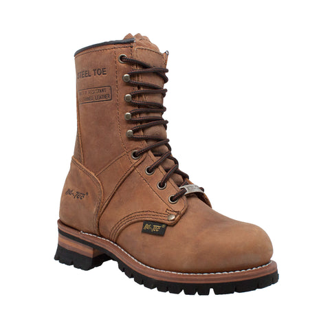 AdTec Womens Brown 9in Steel Toe Logger Leather Work Boots