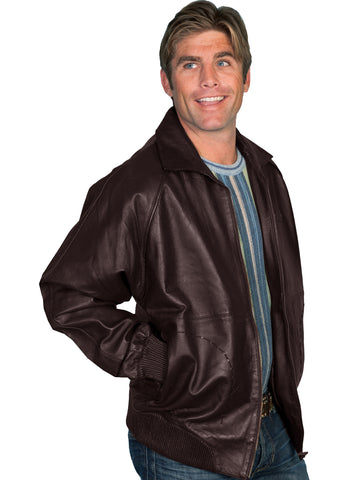 Scully Leather Mens A2 Bomber Lamb Jacket Zip Front Brown