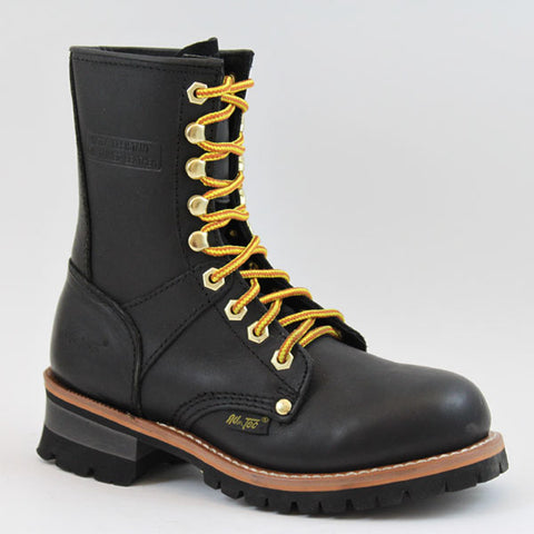 AdTec Womens Black 9in Logger Oiled Leather Work Boots