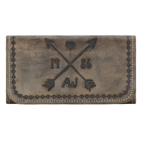 American West Cross My Heart Tri-Fold Wallet Distressed Charcoal Brown Leather