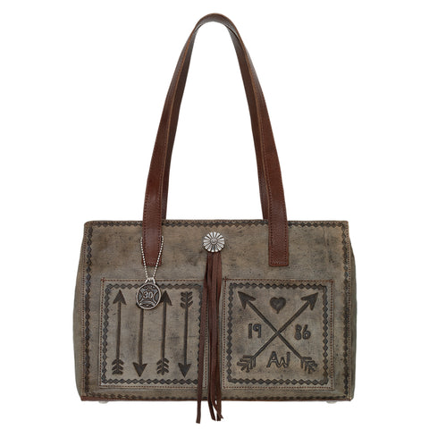 American West Cross My Heart Tote Handbag Distressed Charcoal Brown Leather