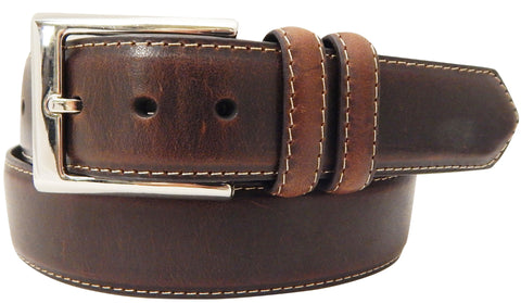 Danbury Mens Brown Leather Padded Center Belt