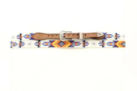 M&F Western Multi-Color Leather 27in Silver Hatband