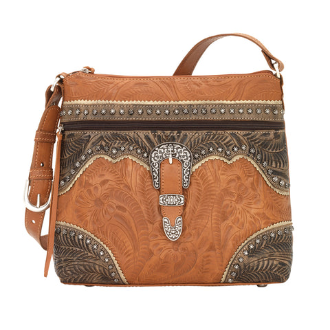 American West Saddle Ridge Zip Top Shoulder Bag Golden Tan Leather