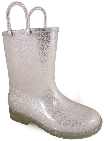Smoky Mountain Childrens Girls Stardust Silver PVC Rain Boots