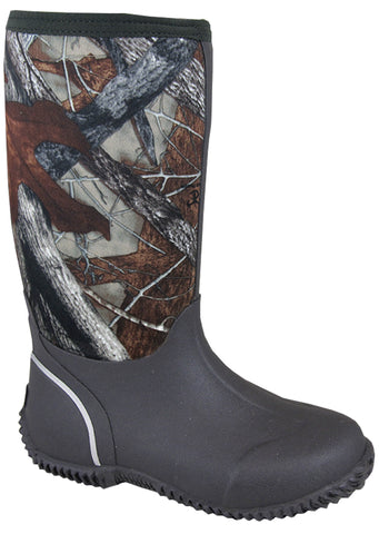 Smoky Mountain Boots Youth Boys Amphibian 12in Camo Rubber Waterproof
