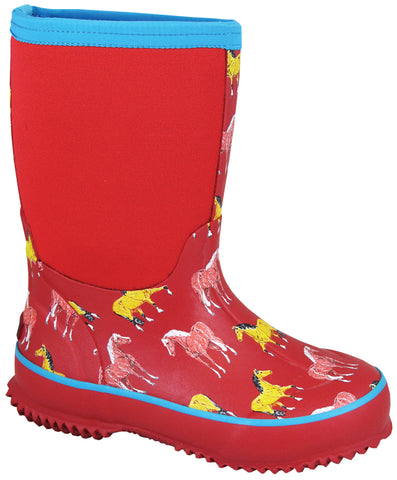 Smoky Mountain Boots Children Unisex Horsin Around Amphibian Red Rubber