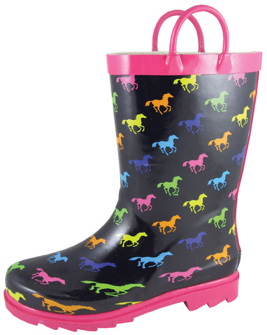 Smoky Mountain Boots Children Girls Ponies Black/Multi Rubber Chore