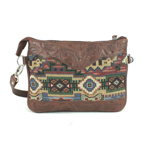 American West Bella Beau Woven Tapestry Leather Crossbody Bag
