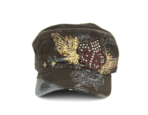 Savana Brown 100% Cotton Ladies Brown Hat Fleur-de-Lis Studded