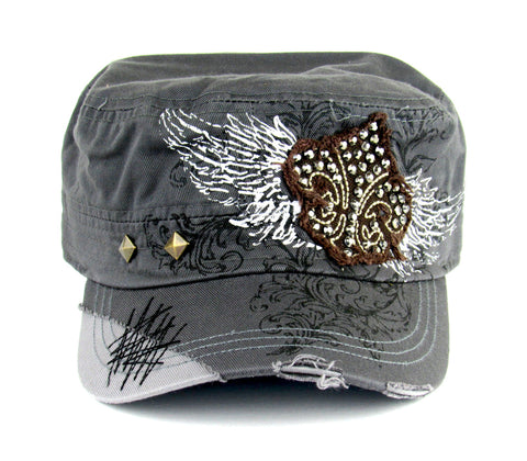 Savana Grey 100% Cotton Ladies Grey Hat Fleur-de-Lis Studded