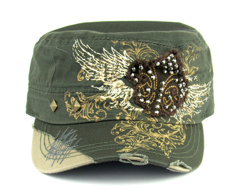 Savana Olive 100% Cotton Ladies Olive Hat Fleur-de-Lis Studded