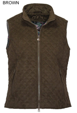Outback Trading Co. Grand Prix M/S Vest Ladies Brown Microsuede DWR Finish