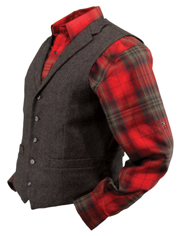 Outback Trading Co Jessie Vest Mens Walnut Wool Blend Lined Lapels