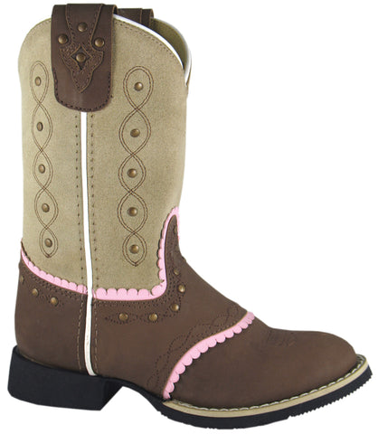 Smoky Mountain Boots Children Girls Ruby Belle Brown/Beige Leather Cowboy