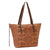 American West Mystic Shadow Zip Top Bucket Tote Golden Tan Leather