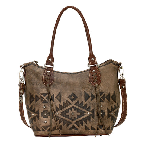 American West Mystic Shadow Tote Distressed Charcoal Brown Leather Bucket