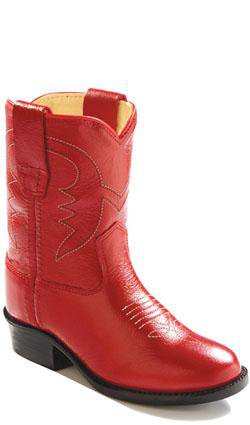 Old West Red Toddlers Girls Corona Calf Leather Round Toe Cowboy Boots
