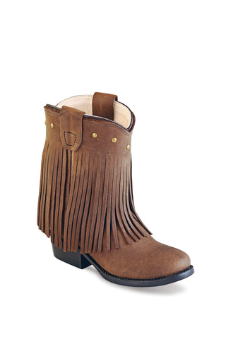 Old West Brown Toddler Girls Corona Leather Fringe Fashion Boots