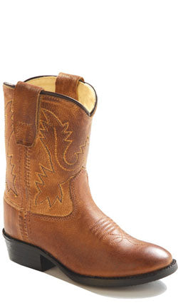 Old West Tan Canyon Toddlers Boys Corona Leather Round Toe Cowboy Boots
