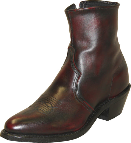 Sage Mens Black Cherry Leather 7in Zipper Ankle Boots