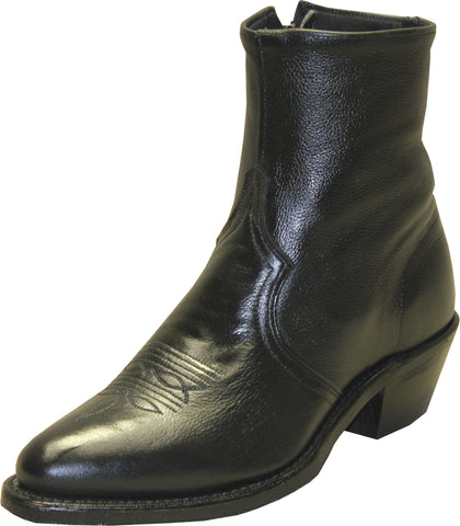 Sage Mens Black Leather 7in Zipper Ankle Boots