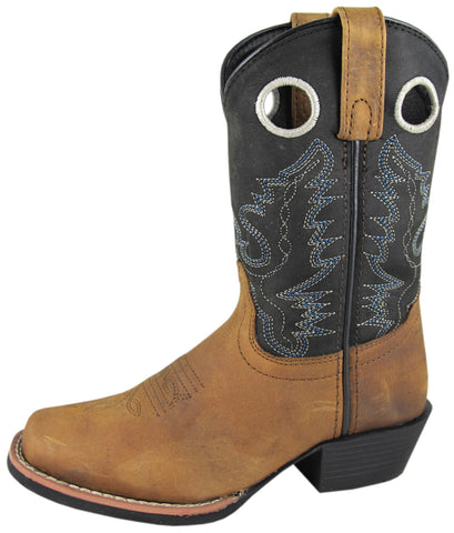 Smoky Mountain Boots Youth Boys Mesa Brown/Black Oil Leather Cowboy