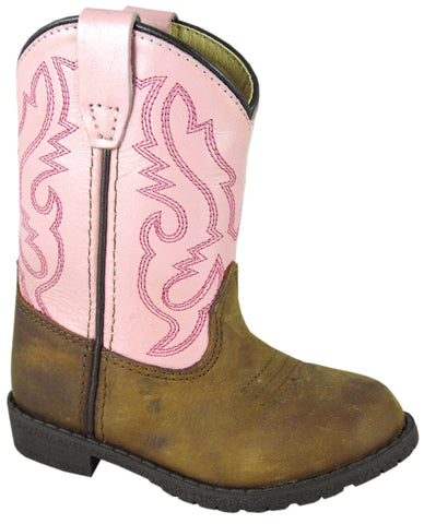 Smoky Mountain Toddler Girls Hopalong Brown/Pink Leather Cowboy Boots