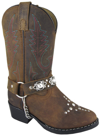Smoky Mountain Boots Children Girls Starlight Brown Distress Leather
