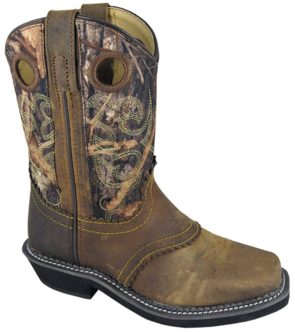Smoky Mountain Boots Youth Boys Pawnee Brown/Camo Leather Square Toe
