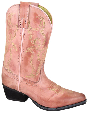 Smoky Mountain Boots Youth Girls Bonanza Dusty Rose Leather Snip Toe