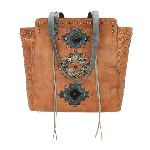 American West Navajo Soul Zip Top Tote Harvest Tan Leather