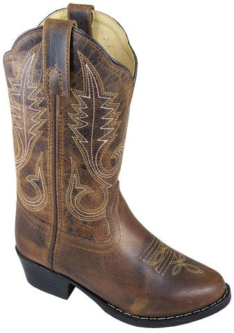 Smoky Mountain Boots Children Girls Annie Brown Waxed Leather Western