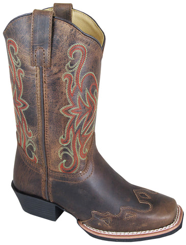 Smoky Mountain Boots Youth Boys Rialto Brown Distress Leather Square