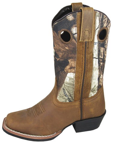 Smoky Mountain Boots Children Boys Mesa Brown/Camo Leather Square Toe