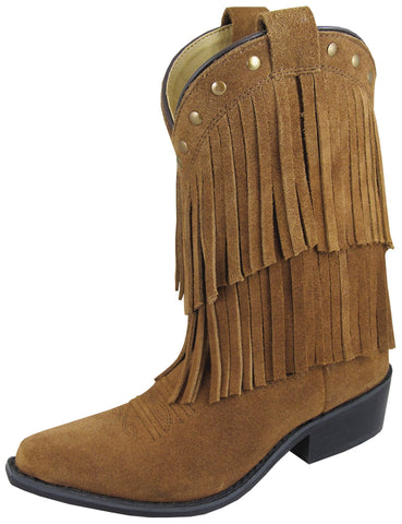Smoky Mountain Boots Youth Girls Wisteria Brown Leather Fringe 5 D