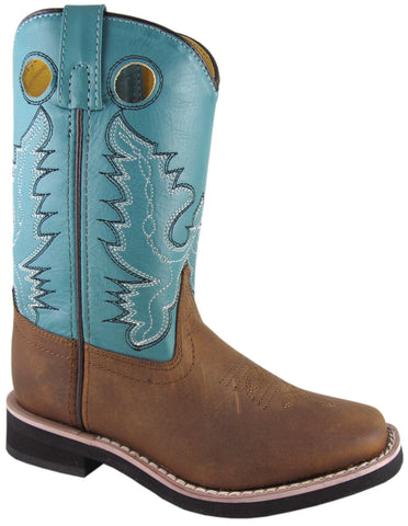 Smoky Mountain Boots Youth Boys Pueblo Brown/Turquoise Leather