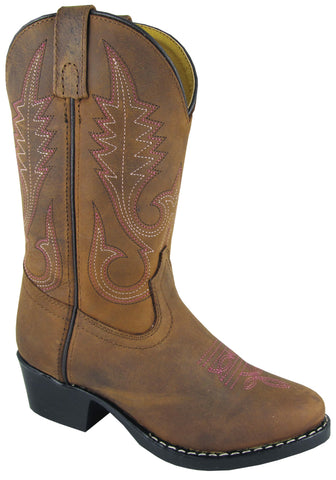 Smoky Mountain Boots Children Girls Annie Brown Distress Leather Western