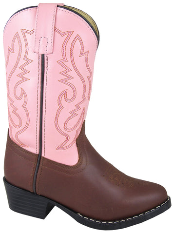 Smoky Mountain Boots Youth Girls Denver Brown/Pink Leather Western