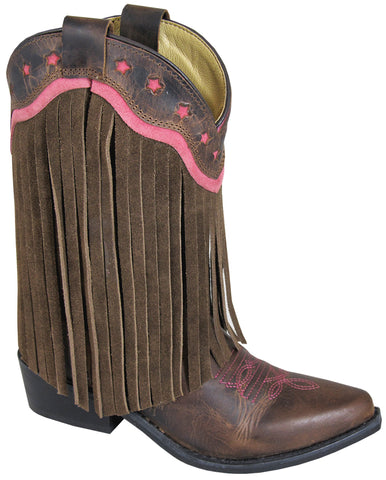 Smoky Mountain Boots Children Girls Helena Brown Leather Fringe Pink