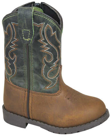 Smoky Mountain Toddler Boys Hopalong Brown/Green Leather Cowboy Boots