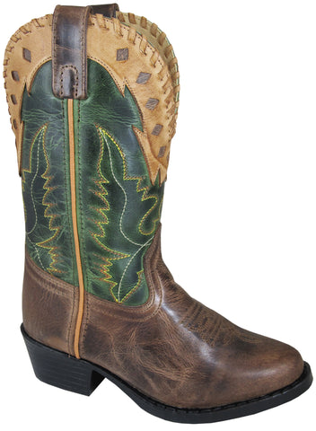 Smoky Mountain Childrens Boys Scout Brown//Cream Leather Cowboy Boots
