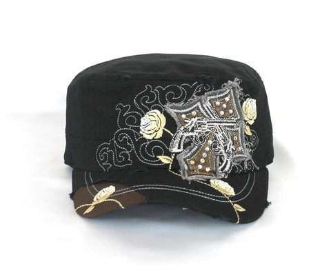 Savana Black 100% Cotton Ladies Black Hat Pistols Cross