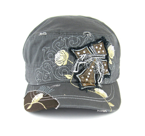 Savana Grey 100% Cotton Ladies Grey Hat Pistols Cross