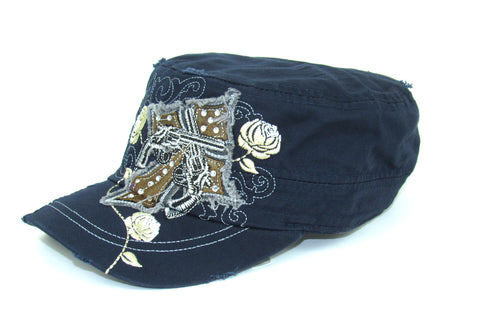Savana Navy 100% Cotton Ladies Navy Hat Pistols Cross